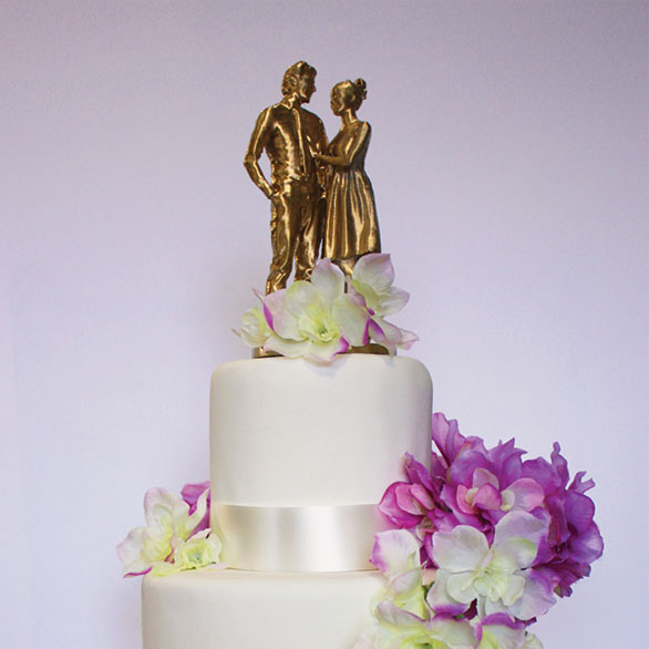 Wedding Cake with Flowers and Topper